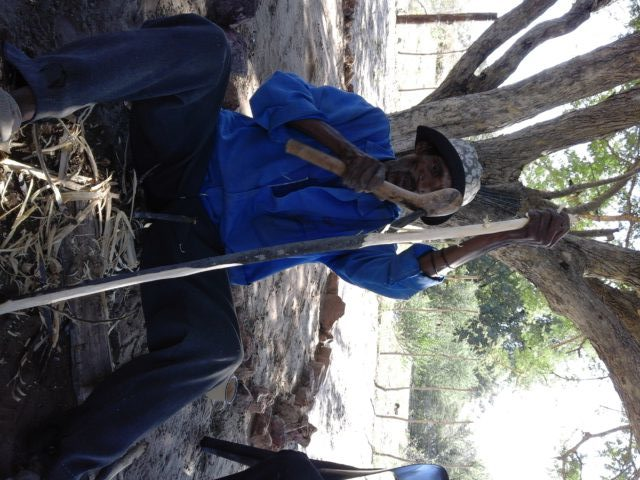 "Here he showed me how use the ""bushman leatherman"". I worked on the other end after he taught me."